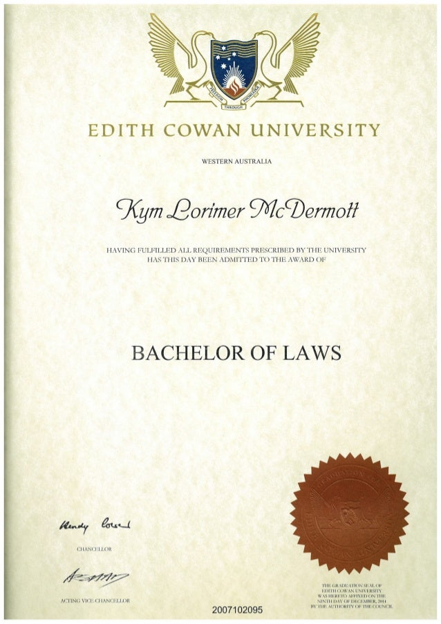 Kym McDermott - Bachelor of Laws certificate