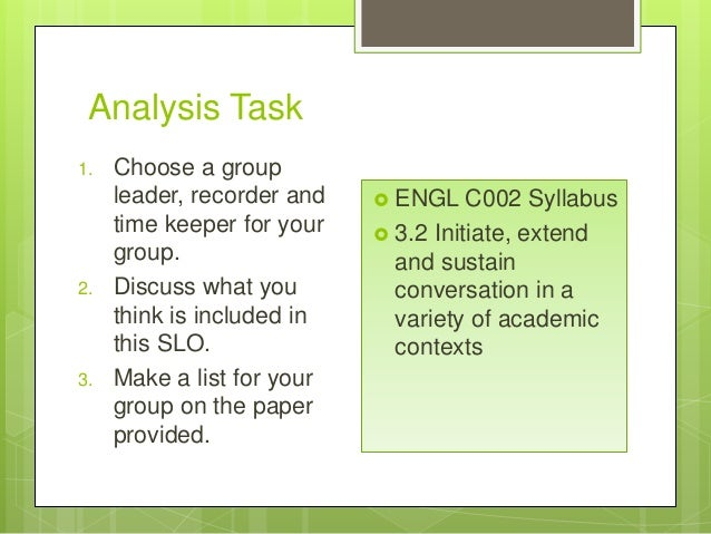 Analysis Task 1. Choose a group leader, recorder and time keeper for your group. 2. Discuss what you think is included in ...