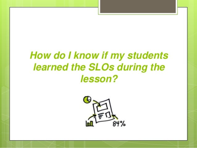 How do I know if my students learned the SLOs during the lesson?