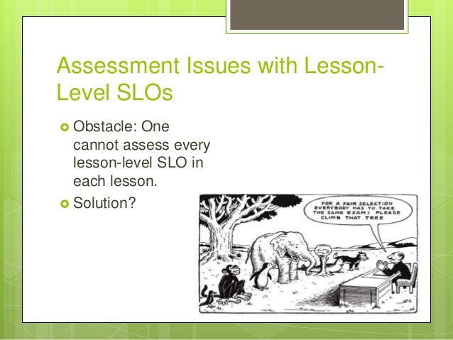 Assessment Issues with Lesson- Level SLOs  Obstacle: One cannot assess every lesson-level SLO in each lesson.  Solution?