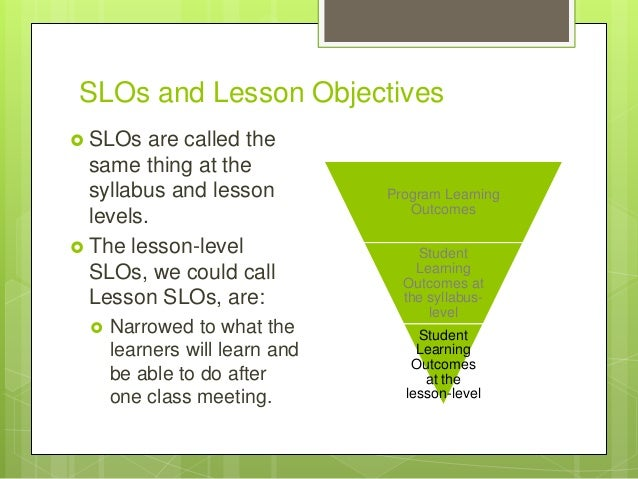 SLOs and Lesson Objectives  SLOs are called the same thing at the syllabus and lesson levels.  The lesson-level SLOs, we...
