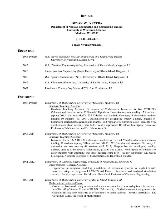 Bryan W. Veyera1/4 RESUME BRYAN W. VEYERA Department of Nuclear Engineering  and ...