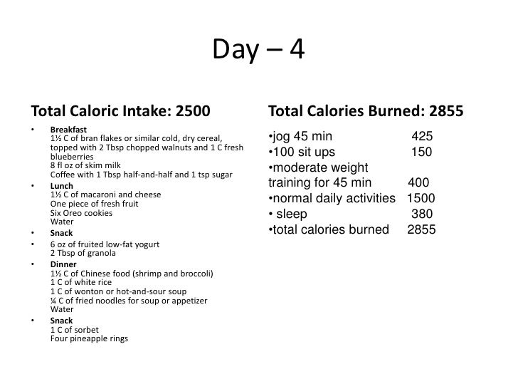 5 day – 2500 calorie meal plan