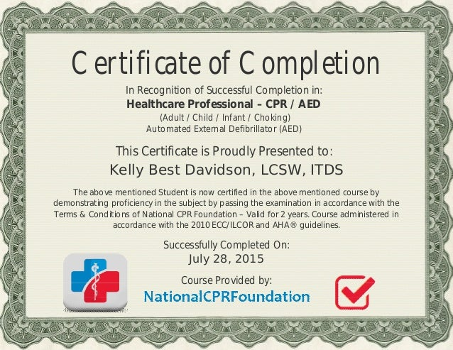 cpr aed health care professional s certificate for kelly b davidson