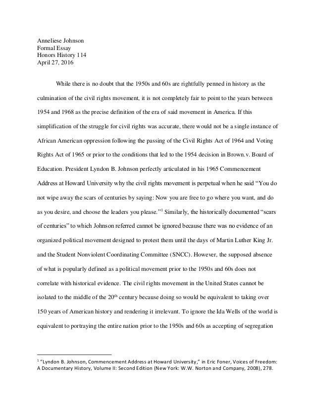 formal essay anneliese johnson formal essay honors history 114 27 2016 while there is no doubt