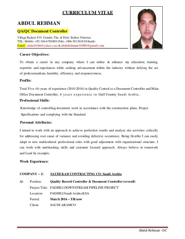 Example Cv Document Controller Resume Templates Document Controller