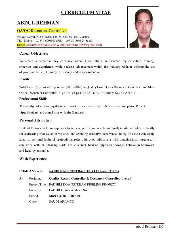Example Cv Document Controller Resume Templates Document Controller