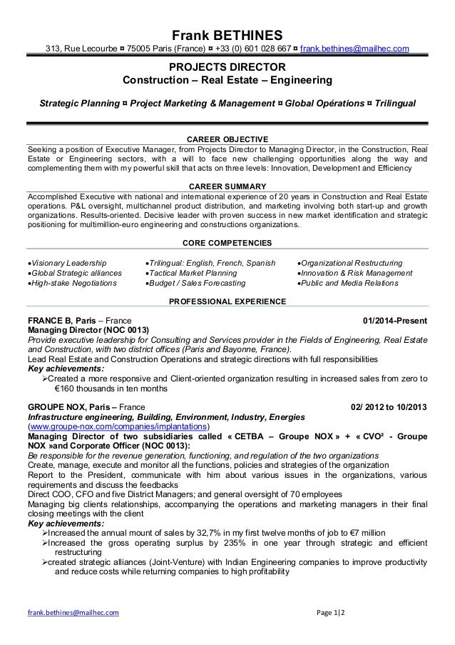 resume bethines canada english and french version