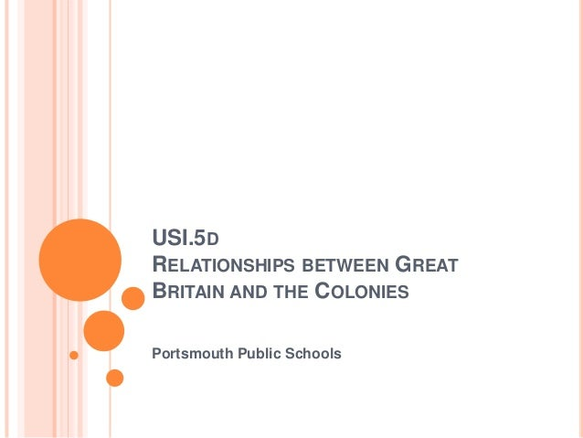 USI.5D RELATIONSHIPS BETWEEN GREAT BRITAIN AND THE COLONIES Portsmouth Public Schools