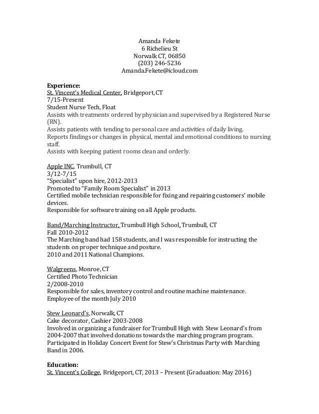 Amanda Fekete 6 Richelieu St Norwalk CT, 06850 (203) 246 5236 Amanda ...  Nurse Tech Resume