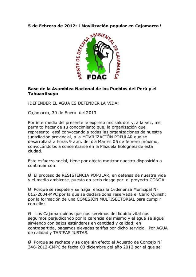 5 de Febrero de 2012: ¡ Movilización popular en Cajamarca !Base de la Asamblea Nacional de los Pueblos del Perú y elTahuan...