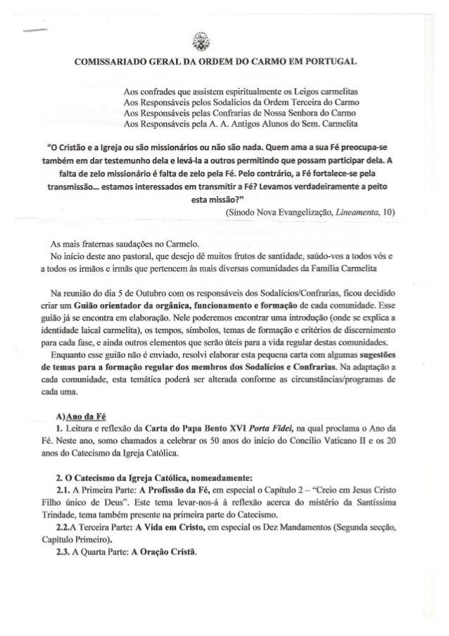 Nota do Comissariado Carmelita