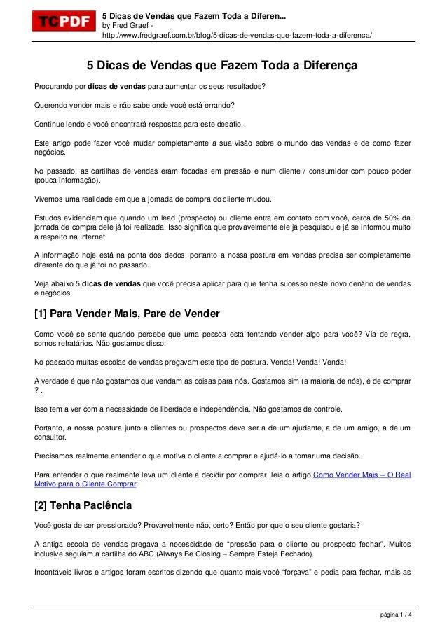 5 Dicas de Vendas que Fazem Toda a Diferen... by Fred Graef - http://www.fredgraef.com.br/blog/5-dicas-de-vendas-que-fazem...