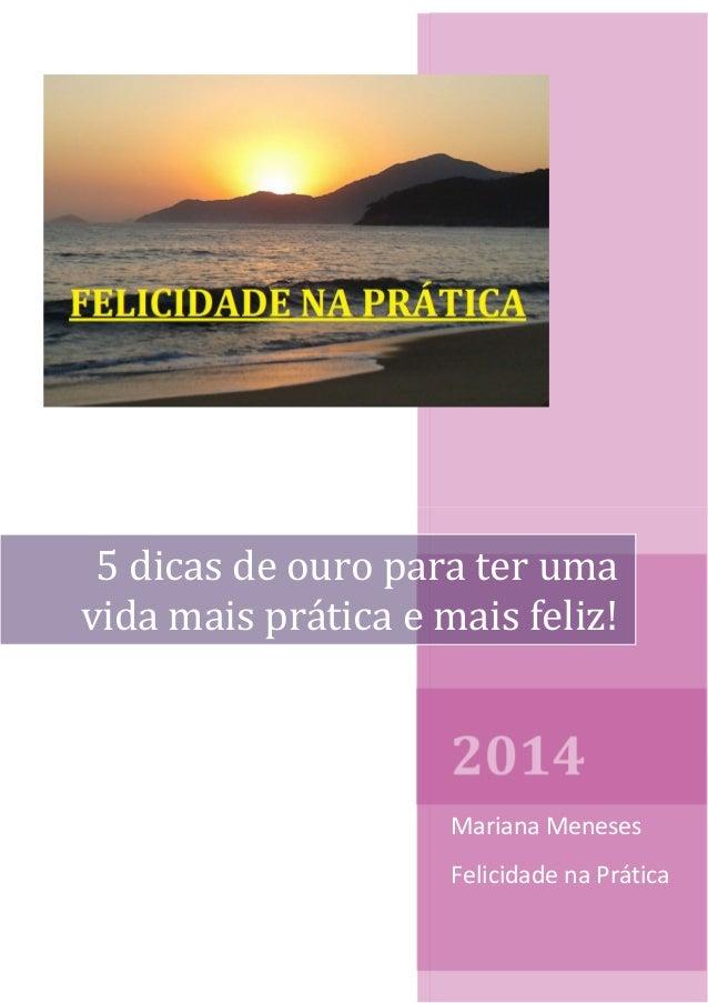 2014 Mariana Meneses Felicidade na Prática 5 dicas de ouro para ter uma vida mais prática e mais feliz!