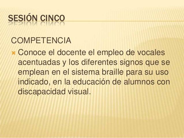 SESIÓN CINCOCOMPETENCIA Conoce el docente el empleo de vocalesacentuadas y los diferentes signos que seemplean en el sist...