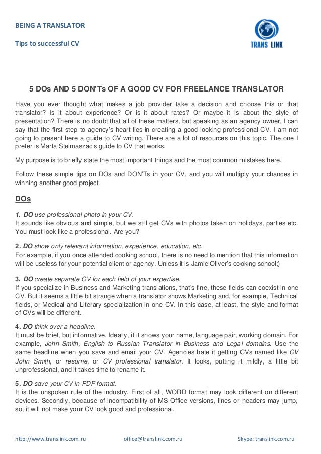 5 dos and 5 don ts of a good cv for freelance translator