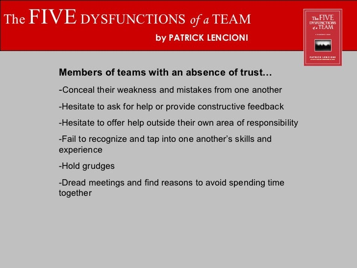 The Five Dysfunctions Of A Team By Patrick Lencioni Absence Of Trust 3