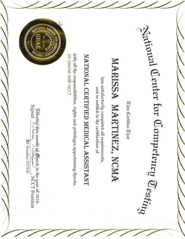 Nationally Certified Medical Assistant