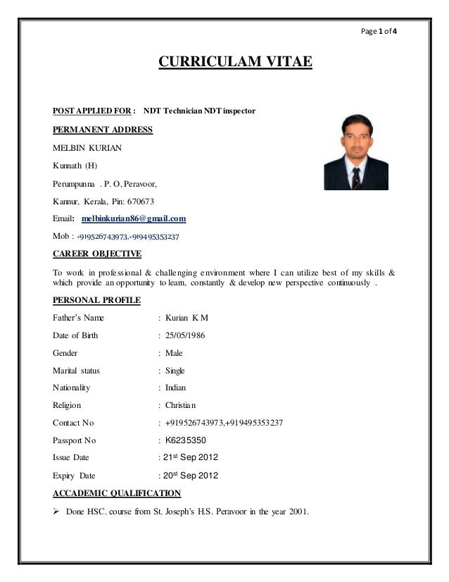 cv for pcn ndt inspector ut3 1 3 2 3 9 mt pt