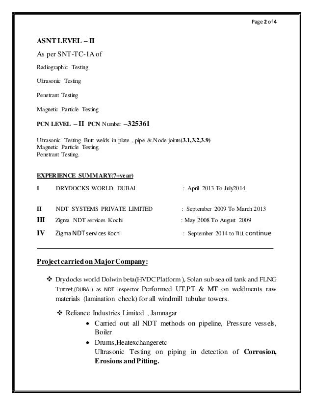 Cv For Pcn Ndt Inspector Ut3 1 3 2 9 Mt Pt
