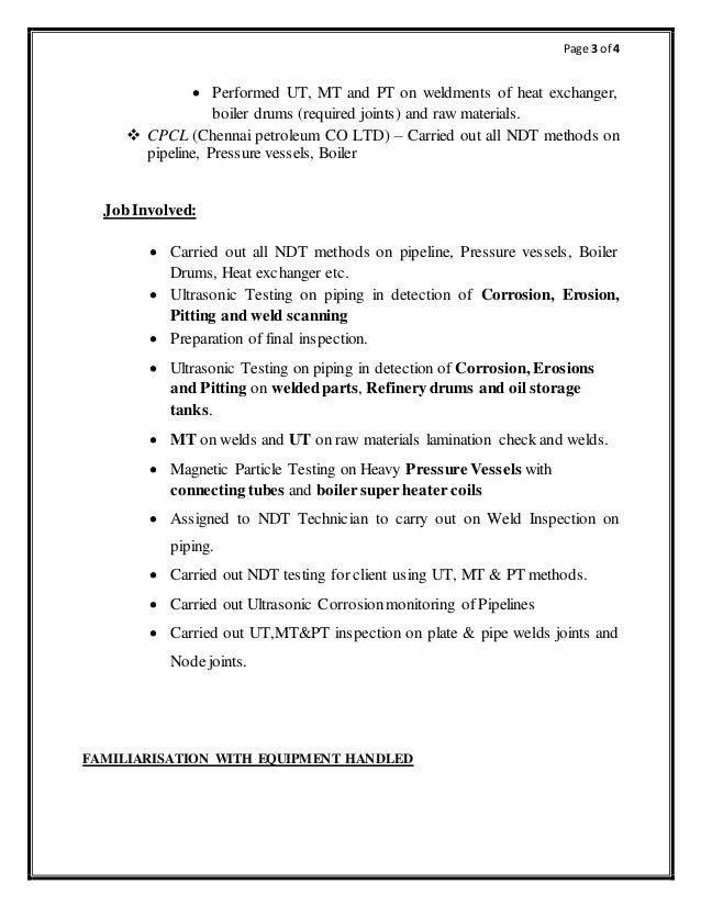 ndt inspector resume resume ideas