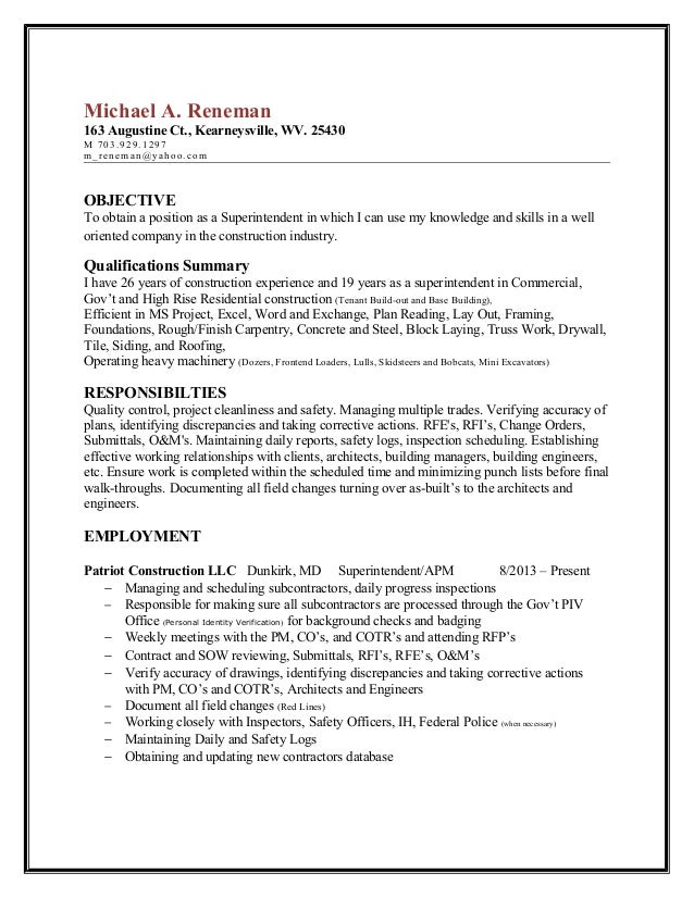 reneman superintendent resume michael a reneman 163 augustine ct kearneysville wv