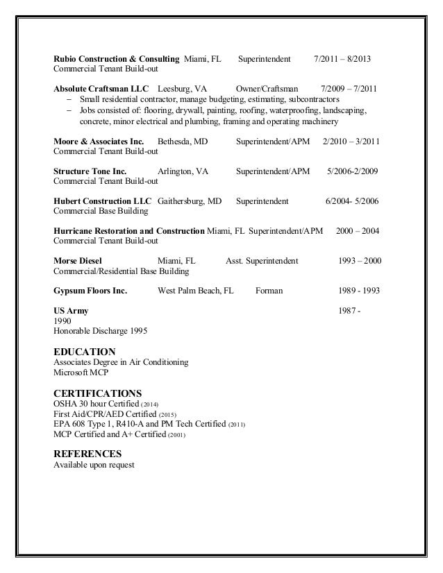 building superintendent resume