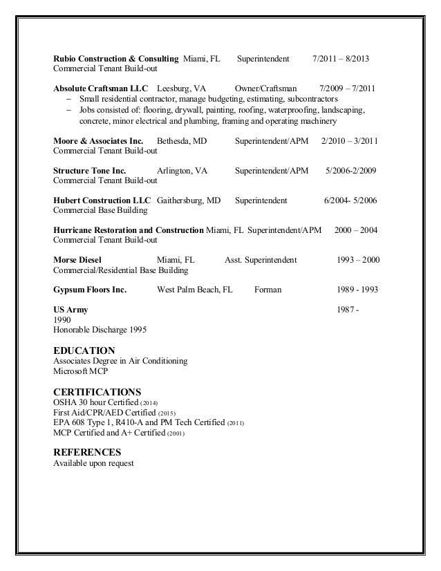 resume samples superintendent resumesbuilding superintendent