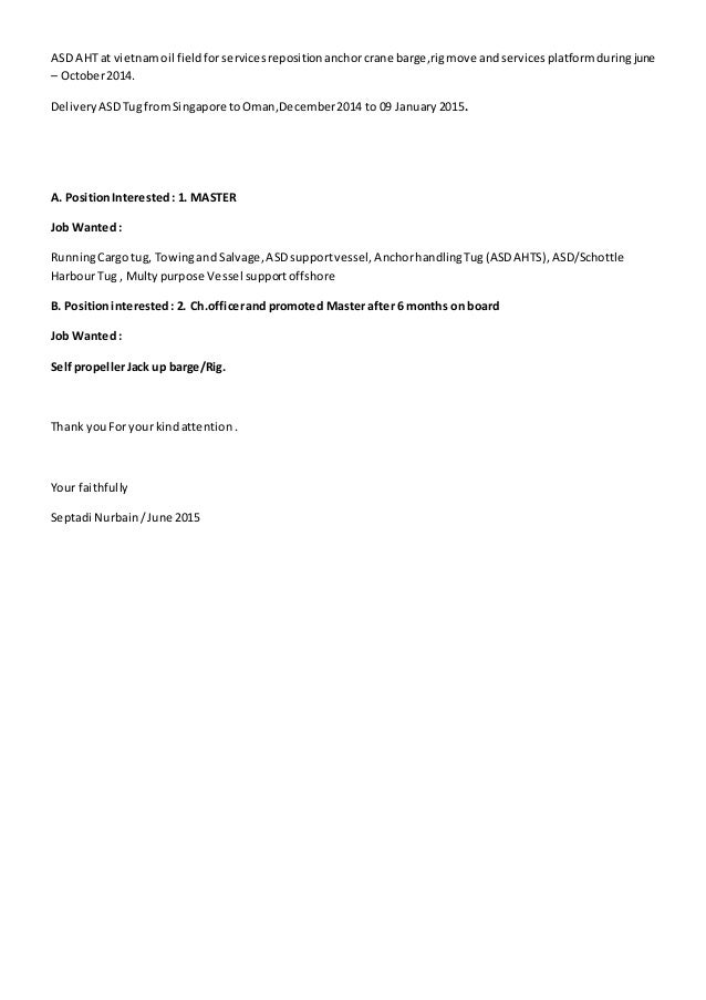 Cover Letter And Update Cv Septadi N