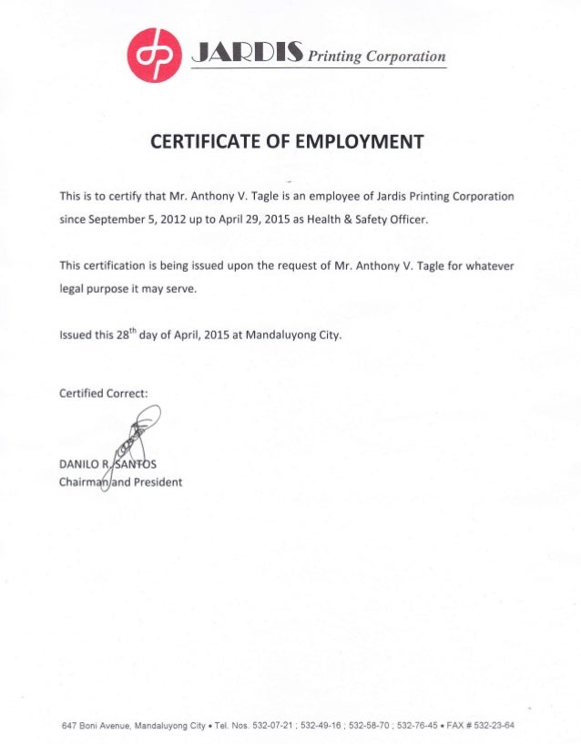 Certificate of employment and training certificates for Certificate of employment template