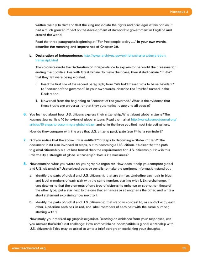 Global Citizenship HS 510 – Citizenship in the World Worksheet