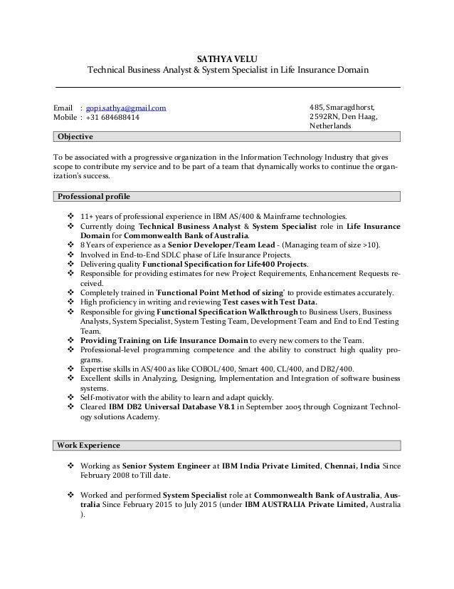 Sathyavelu lifeinsurancedomaintechnicalbusinessanalyst resume for Sample resume for business analyst in banking domain
