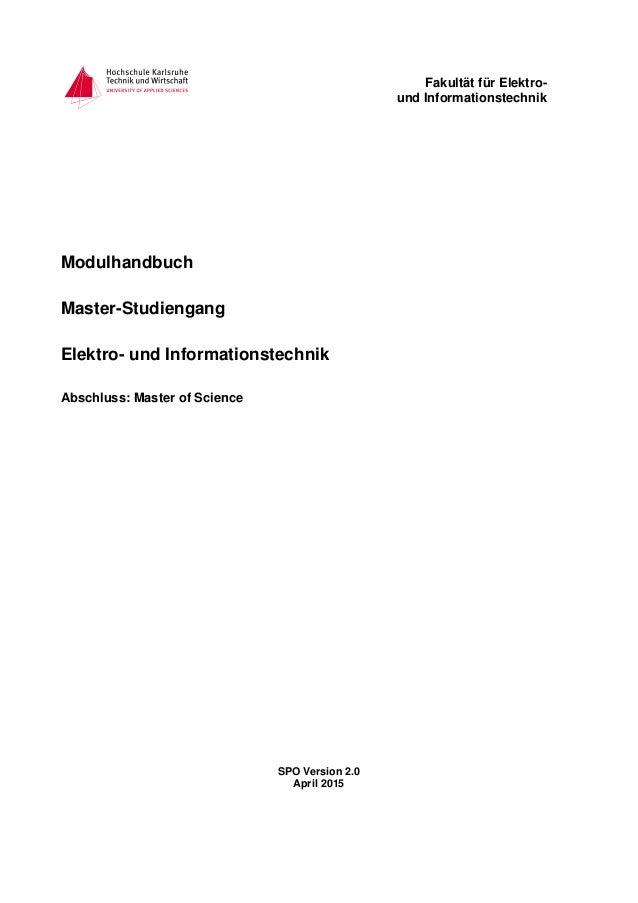 Fakultät für Elektro- und Informationstechnik Modulhandbuch Master-Studiengang Elektro- und Informationstechnik Abschluss:...