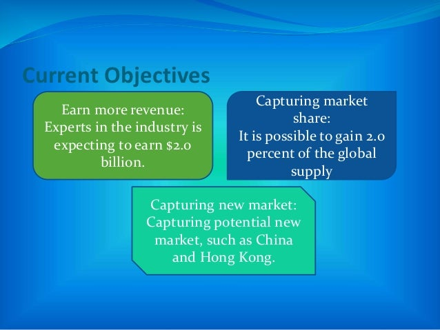 Current Objectives Earn more revenue: Experts in the industry is expecting to earn $2.0 billion. Capturing market share: I...