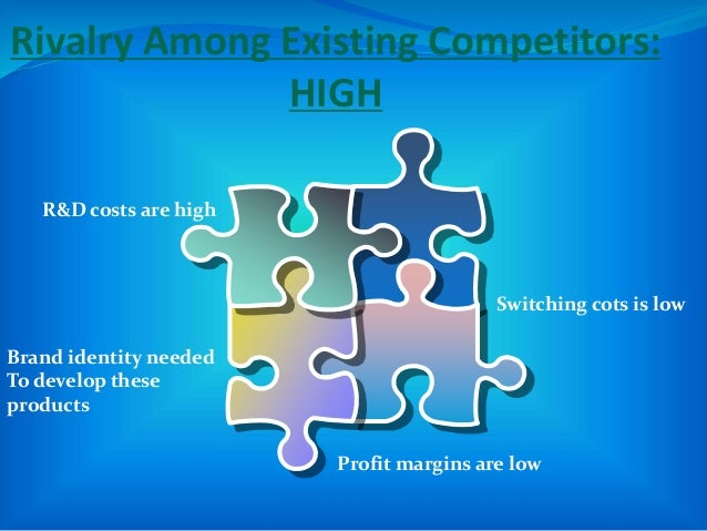 Rivalry Among Existing Competitors: HIGH R&D costs are high Brand identity needed To develop these products Switching cots...