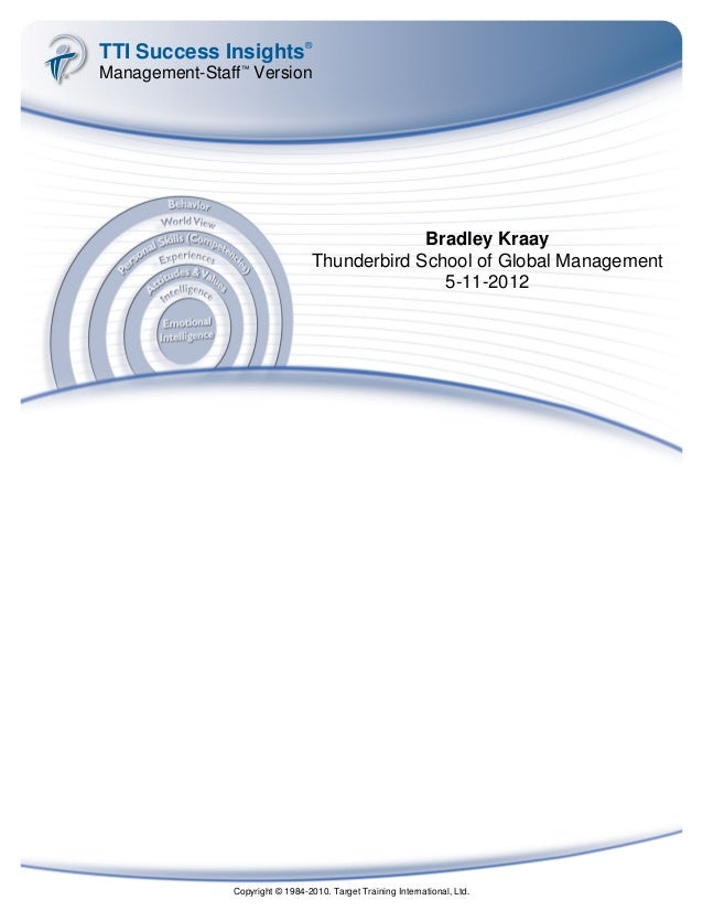 TTI Success Insights® Management-Staff™ Version Bradley Kraay Thunderbird School of Global Management 5-11-2012 Copyright ...