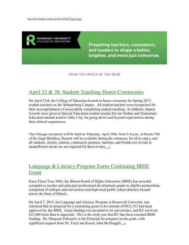 Roosevelt University Email >> Steven Ondrus Impact Award Winner Outstanding Student