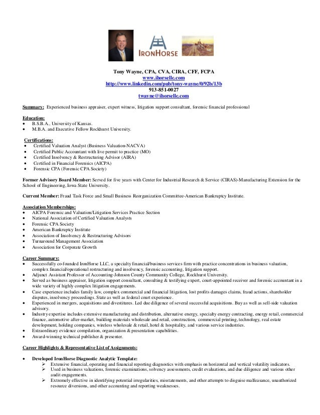 CV Tony Wayne-Business Valuation-Expert Witness & Lit Support