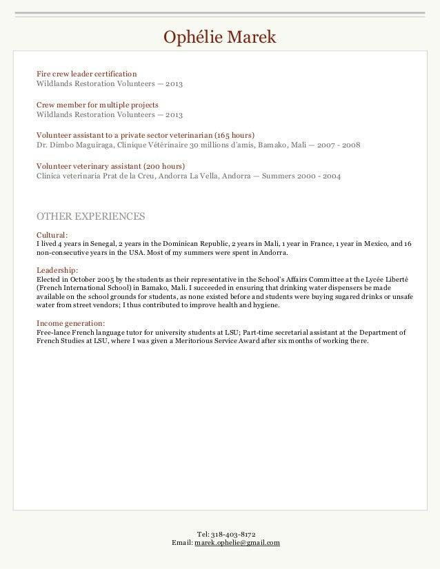 ophelie marek resume