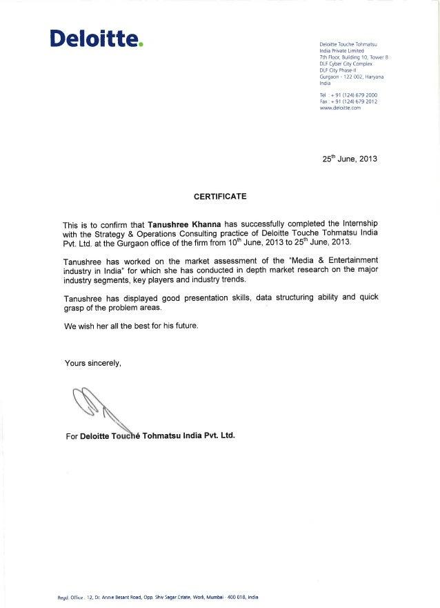 deloitte certificate