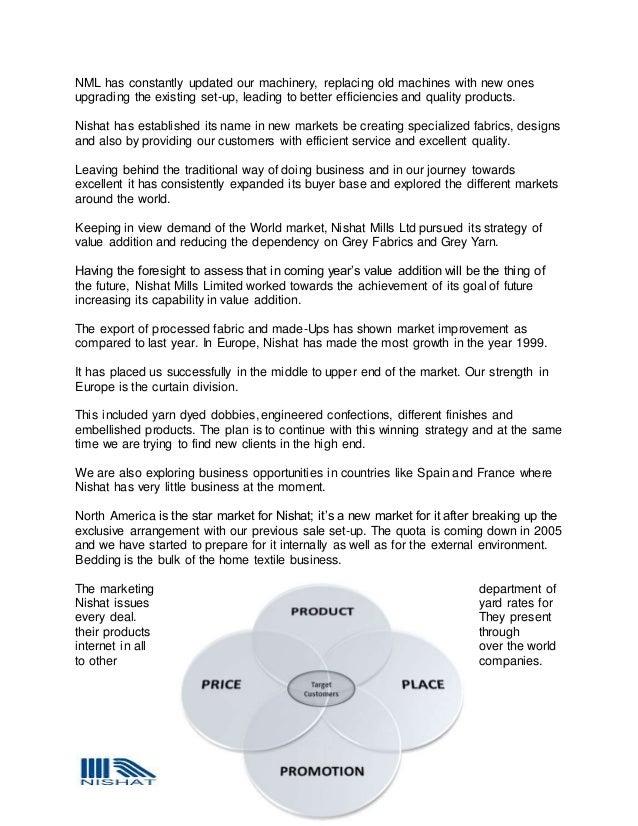 INTERNSHIP REPORT ON NISHAT MILLS LTD  LAHORE