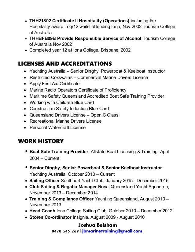  THH21802 Certificate II Hospitality (Operations) including the Hospitality award in gr12 whilst attending Iona, Nov 2002...