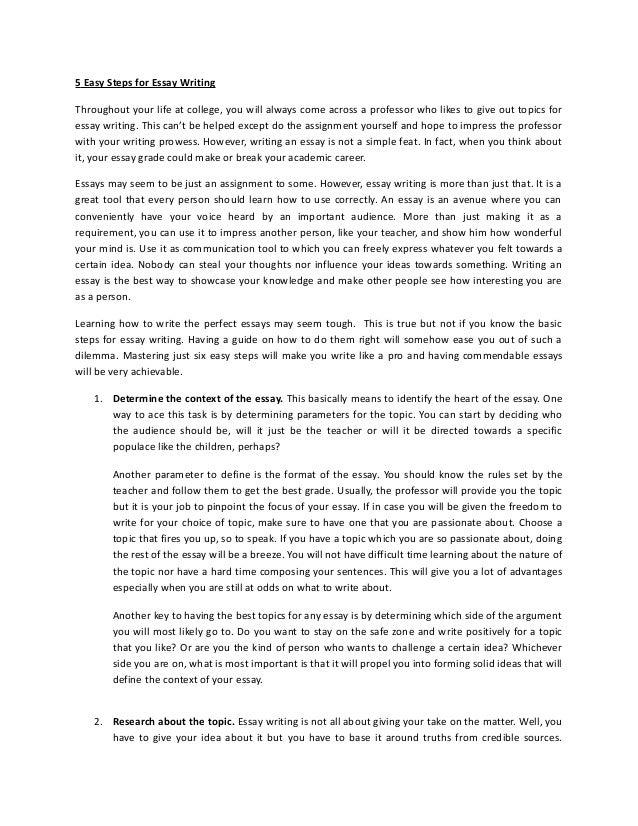 5 Steps Writing Essay