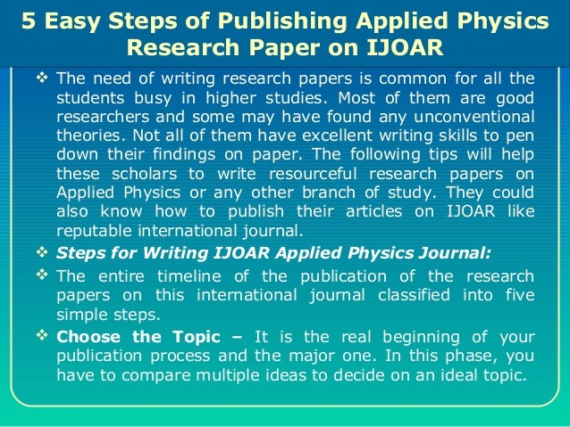 How to write a physics research paper