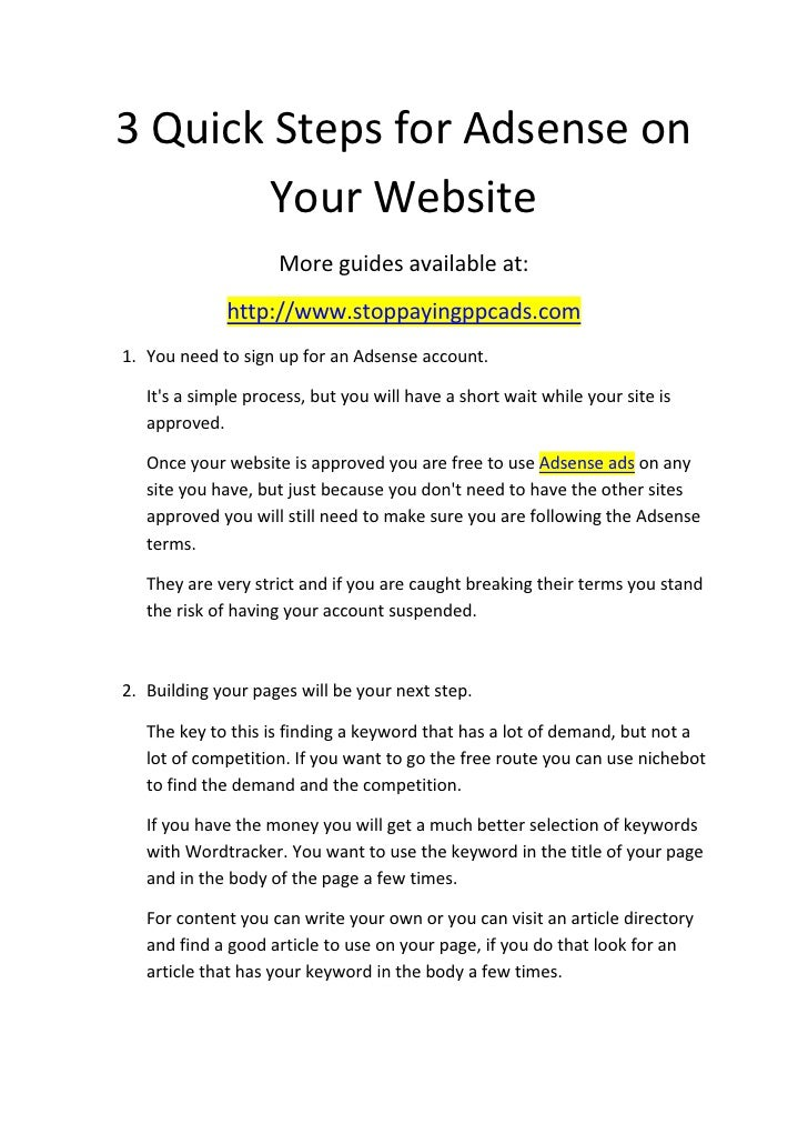 3 Quick Steps for Adsense on         Your Website                      More guides available at:               http://www....