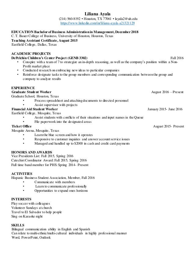 bauer resume for liliana ayala 1 638 - Collection of uh bauer resume template