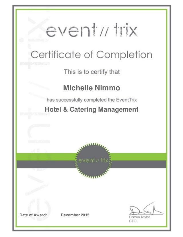 Hotel Catering Management Certificate