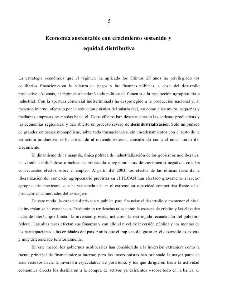 5               Economía sustentable con crecimiento sostenido y                                       equidad distributiv...