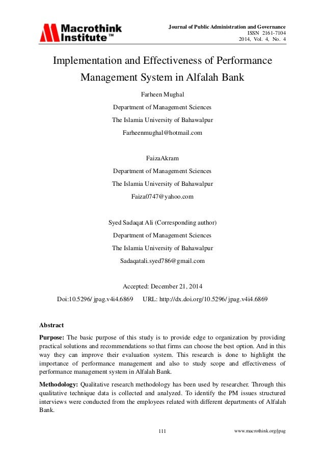 Journal of Public Administration and Governance ISSN 2161-7104 2014, Vol. 4, No. 4 www.macrothink.org/jpag111 Implementati...