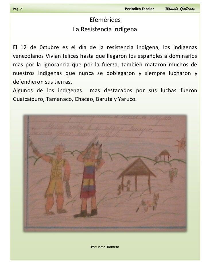 Pág. 2                                             Periódico Escolar   Rómulo Gallegos                               Efemé...